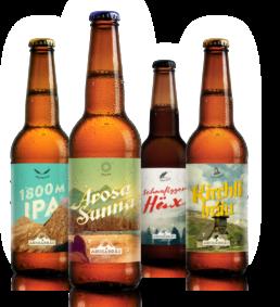 Arosa Bier Sortiment von Arosabräu - Arosa Sunna, Kirchlibräu, Schanfigger Häx, 1800m IPA